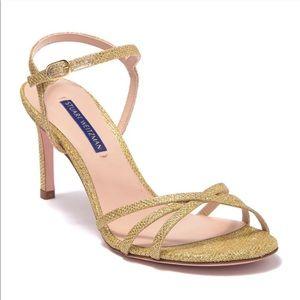 Stuart Weitzman Starla Gold Glitter Strappy Heels